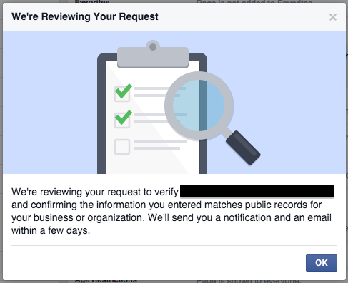 verify facebook business pages request