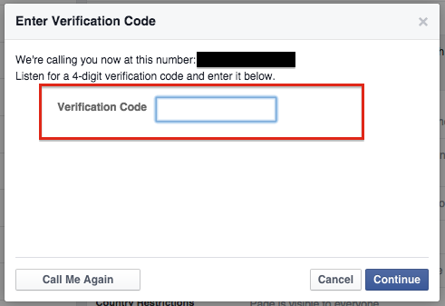 code for verify facebook business pages